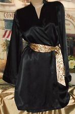 USA M/L Black Satin Kimono Style Robe Long Sleeve Leopard Belt
