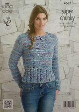 KNITTING PATTERN Ladies Long Sleeve Round Neck Short Jumper Super Chunky KC 4067