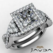 Halo Pre-Set Princess Diamond Antique Engagement Ring GIA F VS2 Platinum 3.15ct