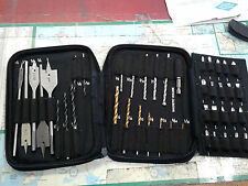 DRILL & BIT SET, SPADE, BRAD POINT, TITANIUM, MASONARY, SCREW TIPS. $7.00