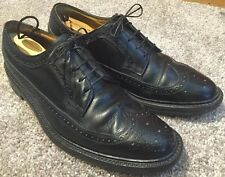 Mens VTG FLORSHEIM IMPERIAL Wing Tip Black Pebbled Leather Oxfords- Size 9.5C