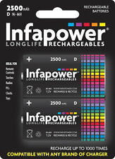 Infapower Rechargeable D NiMh 1.2v 2500mAh Batteries - pack of 2