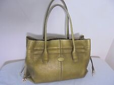 Tod's Large Leather D Bag Tote Bag Burnished Gold Draw Sides Authentic 2005