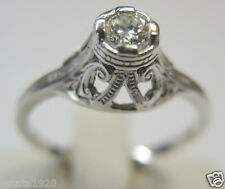 Antique Diamond Engagement Ring 18K White Gold Ring Size 6.5 EGL USA Art Deco