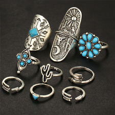 1set Retro Silver Turquoise Bohemian Ring Vintage Steampunk Cross Flowers Ring