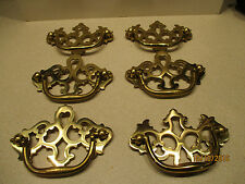 """6 Vintage Solid Polished Brass Chippendale Style Drawer Handles  3"""" on center"""