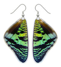 Real Handmade Butterfly Wing Earrings-Resin Coated Drop/Dangle Butterfly Jewelry
