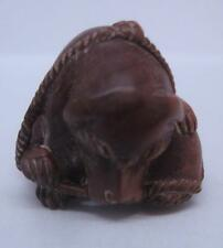 Oriental Japanese Hand Carved Box Wood Ojime Bead / Netsuke - Dog