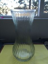 Hoosier Glass Vase Size 9-3/4 Inches Tall Clear Ribbed Zigzag 4091/13