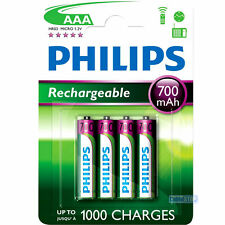 PHILIPS AAA Rechargeable Home Phone Batteries Power 700mAh Pack of 4 small size