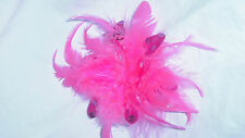 HOT PINK FEATHER FASCINATOR HAIR CLIP, CORSAGE, BROOCH