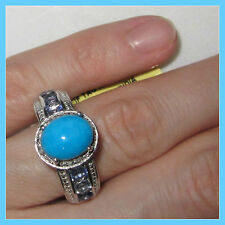 Sleeping Beauty Turquoise Catalna Iolite Diamond Ring 3.45 cts SSilver 925 sz 10