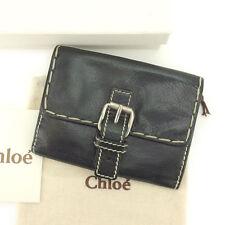 Auth Chloe W Hook Wallet Stitch unisexused J11547