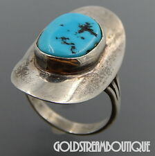 NAVAJO SIGNED S.J. STERLING SILVER KINGMAN TURQUOISE OVAL SADDLE RING SIZE 9