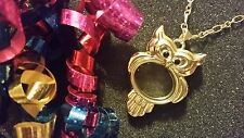 Gold Owl Living Locket Necklace & Chain Set for FLoating Charms - US Seller