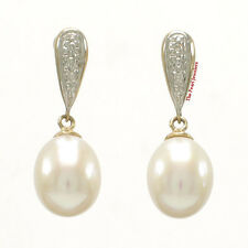 14k Yellow Gold Sets 6 Diamonds On White Cultured Pearl Dangle Stud Earrings