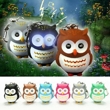 New Toys Cute Owl Keyring Luminous Voice Keychain LED Light Flashlight Key Chain
