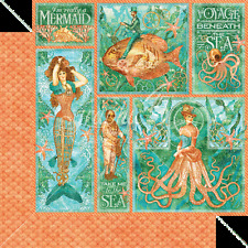 Graphic45 MERMAID MELODY 12x12 Dbl-Sided Scrapbooking (2PC) Paper
