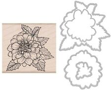 "Hero Arts ""ARTISTIC DAHLIA"" Rubber Wood Stamp + Coordinating Frame Cuts Dies"