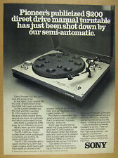 1976 Sony PS-3300 Turntable compared to Pioneer PL-510 vintage print Ad