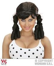 Ladies Brown Wig With Bunches Naughty School Girl St Trinians Cheerleader Fancy