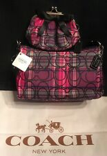 Coach Poppy Tartan Handbag Black Pink Plaid 44166+bonus kisslock Coin Case Bow