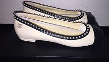 NeW CHANEL Elegant CC Classic Pearl Leather Ballerina Ballet Flat 36.5 6 - 6.5