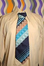 A284✪ original 70er Jahre Kult Retro Krawatte Hippie Muster blau türkis mint