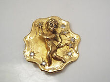 Vintage 14k Gold Cherub with Small Diamonds Brooch or Pendant