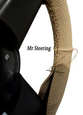 FOR TOYOTA YARIS MK1 REAL BEIGE PERFORATED LEATHER STEERING WHEEL COVER