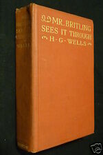 Mr. Britling Sees It Through, by H. G. Wells, 1916 HC, early printing