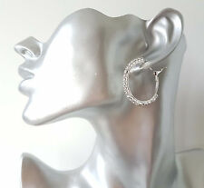 STUNNING small 3.5cm SILVER tone & clear diamante - crystal hoop earrings  #AZ3