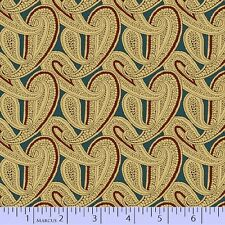 CIVIL WAR JOURNALS~MARCUS~BY 1/2 YD~3754-150~PAISLEY ON AQUA BLUE~OUT OF PRINT