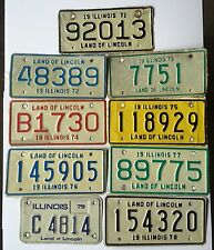 Illinois 1970s Lot of 9 Motorcycle License Plate Garage Old Car Tags Vintage