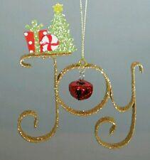 "Gold Bell Wall Door Decor Joy Glitter Christmas 5"" Ornament Kurt Adler Gift"