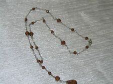 Estate Dainty 925 Silver Marked Bronze Plastic Beads on Chain & Drop Necklace –