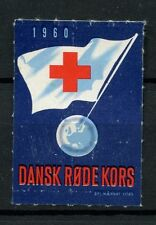 Denmark 1960 Red Cross Flag Poster Label Used #A41250