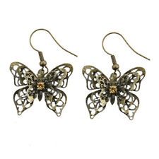 Vintage style  3D 3 layered bronze cutout butterfly charm earrings