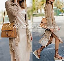 ZARA BOHO FRINGED JACKET OPEN FRONT CARDIGAN WITH FRINGES  M 10 UK 38 EU 6 US