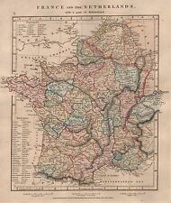 1828 ANTIQUE ARROWSMITH HAND COLOURED MAP FRANCE AND THE NETHERLANDS