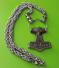 Viking Chain Skane Thor's Hammer Mjölnir Pewter Pendant Necklace - Green Jewel