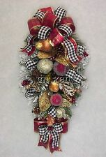 CHRISTMAS WILLIAMSBURG FRUIT 2016 HOLIDAY SWAG PLAID & CHECKED BOWS WREATHS NEW