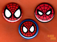 "Set of three 1"" Spiderman mask pins buttons Marvel symbol Spider-Man Spidey"