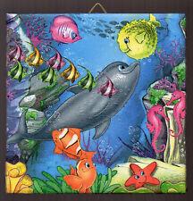 Dekofliese Wandfliese Decoupage Geschenkidee Im Meer Delfin (014)
