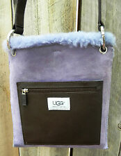 UGG AUSTRALIA Brown Leather Lavender Sherling Messenger Bag Purse New