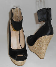 "Blacks 5.5""Wedge 1.5"" Platform ankle strap  high heel sandals shoes SIZE. 5.5 p"