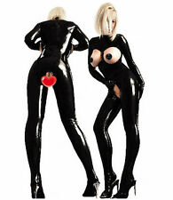 Sexy Fancy Dress Leather Latex Vinyle Costume Crotchless Open Breast Bodysuit