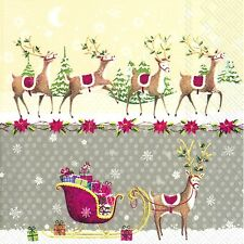 REINDEER SLEIGH Grey Christmas paper 33cm square  lunch napkins 20 pack