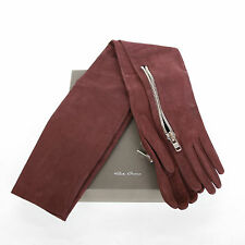 RICK OWENS $1,350 long nubuck leather silk lined zipper pocket Blood gloves NEW