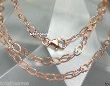 "18"" ITALIAN Solid 14K Pink Rose Gold Hammered Textured Paper Chain 2.3g GORGEOUS"